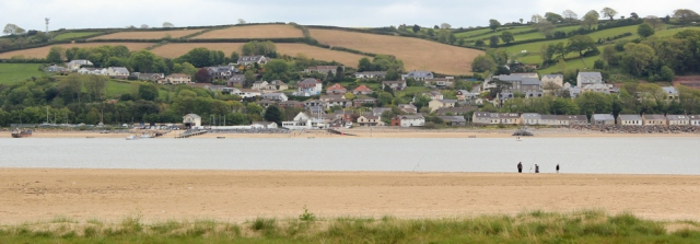 18 view over to Ferryside, Ruth walking the WCP, River Towy