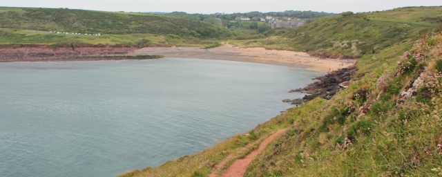 18 walking to Manorbier, Ruth on Pembrokeshire Coast Path