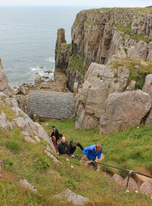 19 down to St Govan's chapel, Ruth on Pembrokeshire Coast Path