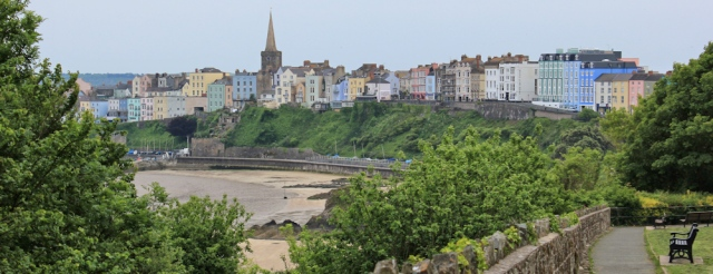 coming down into Tenby, Ruth walking the Pembrokeshire Coast Path