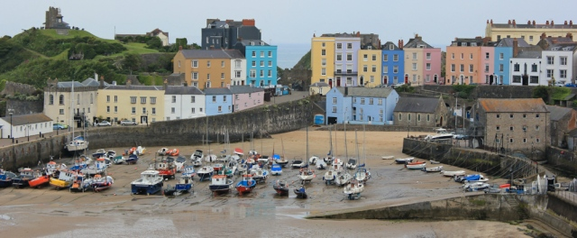 Tenby harbour, Ruth hiking round the coast of Wales