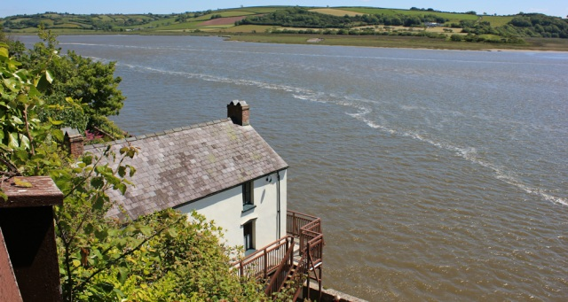Dylan Thomas's boat house, Ruth walking in Laugharne