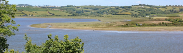 across River Taf estuary to Mwche, Ruth walking the Wales Coast Path