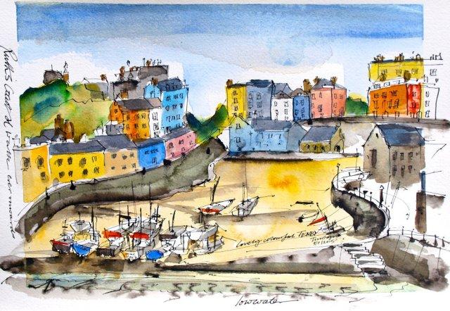 Tenby painting by Tim Baynes, Ruth's coastal walk