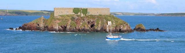 Thorn Island, Ruth hiking the Wales Coast Path, Milford Haven