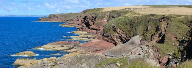 09 coloured rocks, Ruth on the Pembrokeshire Coast Path, Wales