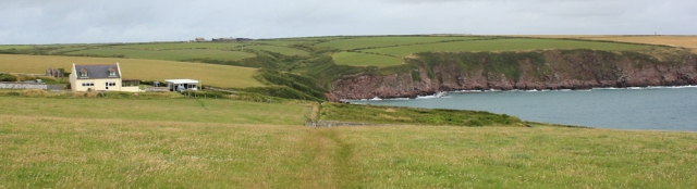 Mill Bay, Ruth walking the Pembrokeshire Coastal Path