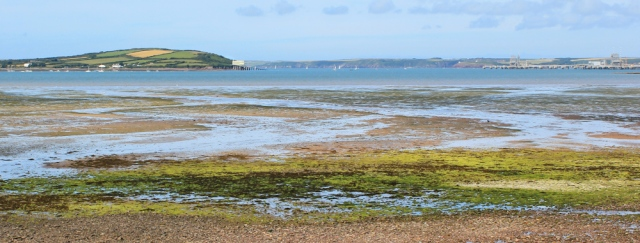 view across Angle Bay from Oil Refinery, Ruth walking Pembrokeshire Coast Path