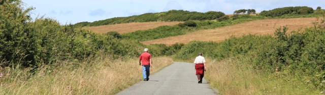 boring road towards Popton Point, Ruth walking the Pembrokeshire Coast Path, Milford Haven