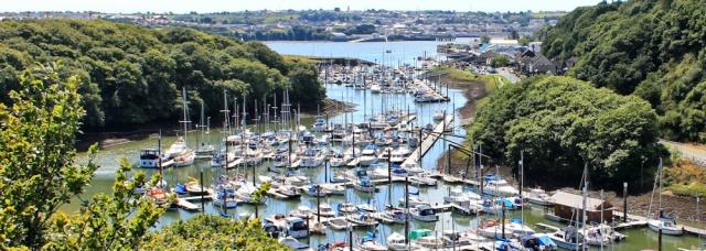 13 marina, Ruth walking across bridges, Pembrokeshire