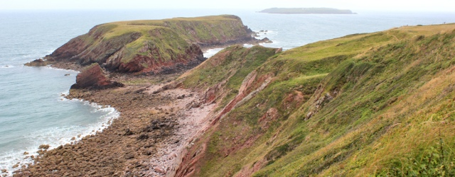 21 Gateholm Island, Ruth walking near Marloes, Pembrokeshire Coast