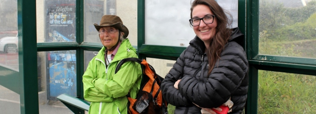 24 Ann and Australian, Ruth hiking in Wales, Marloes bus stop