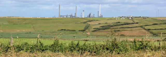 oil refinery, Ruth walking the Wales Coast Path