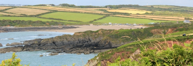 West Angle Bay, Ruth walking Pembrokeshire Coast Path