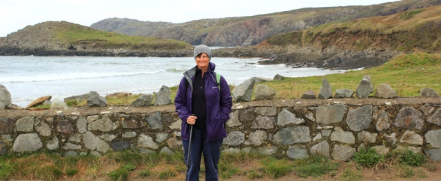 dull start, Whitesands Bay, Ruth walking the Wales Coast Path