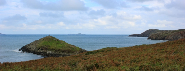 Heading to St David's Head, Ruth on the Pembrokeshire Coast Path