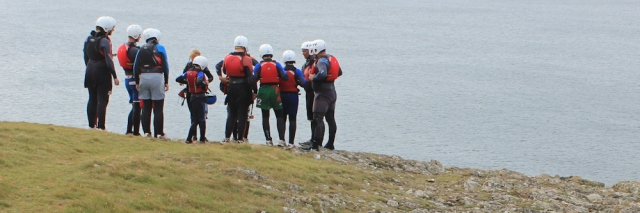 climbers, Ruth's coast hike in Wales
