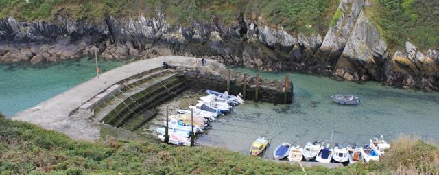 Clais quay, Ruth walking in Pembrokeshire