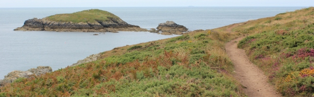 island off Pembrokeshire Coast, Ruth walking St Davids
