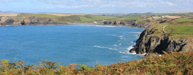 approaching Abereiddy, Ruth walking the Pembrokeshire Coast Path