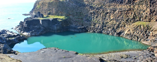 Blue Lagoon, Ruth walking the Pembrokeshire Coast