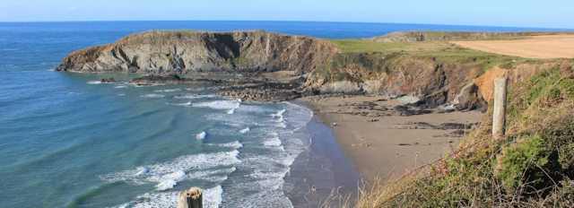 Traeth Llyfn, Ruth walking the Pembrokeshire Coast Path