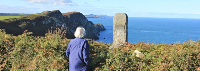 01 view from Pwll Deri, Ruth walking the Pembrokeshire Coast with Ella Fields (senior)