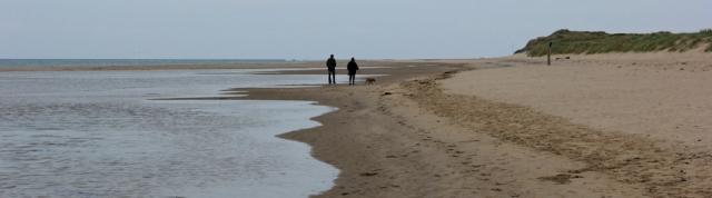 Aberdyfi beach, Ruth hiking the coast in Wales