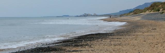 04 lone jogger, Ruth walking along the beach from Aberdyfi to Tywyn, Wales