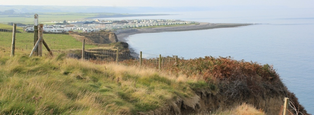 04 looking back at Llanrhystud, Ruth on the Ceredigion coast trail