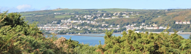 05 looking back to Fishguard and Goodwick, Ruth in Pembrokeshire