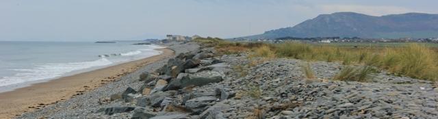 05 Tywyn getting nearer, Ruth trekking the Welsh Coast