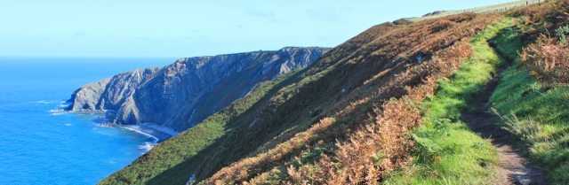 07 Ruth hiking towards Cemaes Head, Pembrokeshire Coast Path