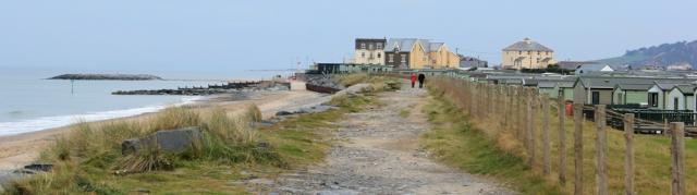 07 Ruth walking the footpath in Tywyn