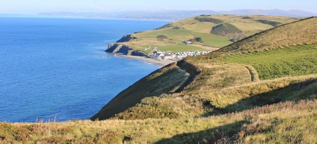 09 coastal path to Clarach Bay, Ruth walking the Ceredigion Coast Path, Aberystwyth