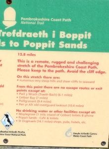 10 warning sign, Ruth's coastal walk to Moylgrove