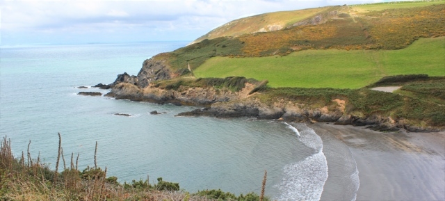11 to Dinas Island, Ruth hiking Pembrokeshire Coast Path