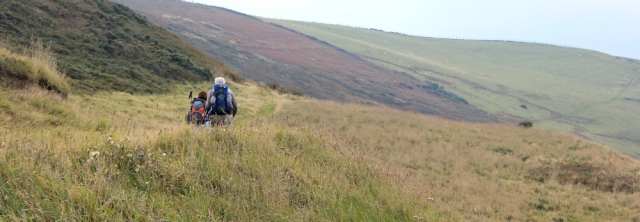 12 walkers on coast path, near Aberystwith, Ruth hiking in Wales
