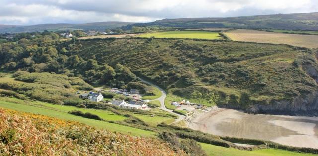 13 climbing Dinas Head, Pwllgwaelod below