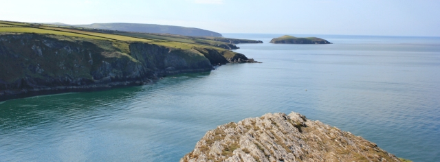14 view west from Foel-y-Mwnt, Ruth hiking through Wales
