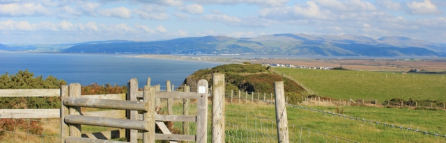 15 coming down into Borth, Ruth on the Wales Coast Path