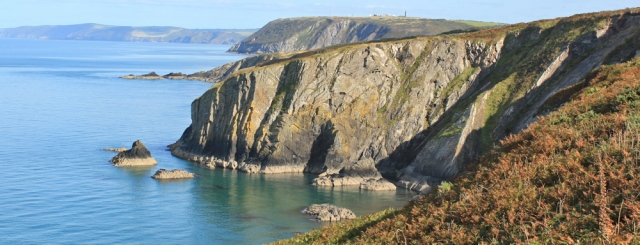 16 dramatic cliffs, Ruth hiking to Aberporth