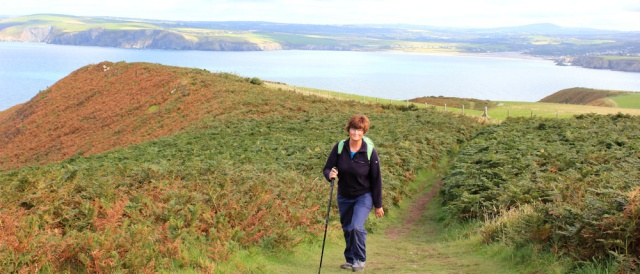 16 Ruth Livingstone walking on Dinas Head, Wales coast