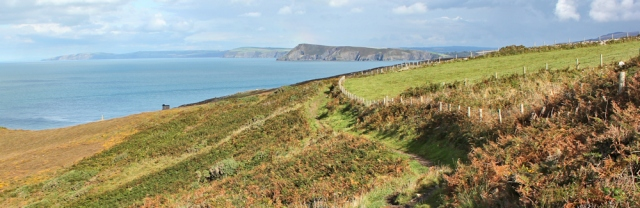 16 towards Fishguard, Ruth hiking in Wales