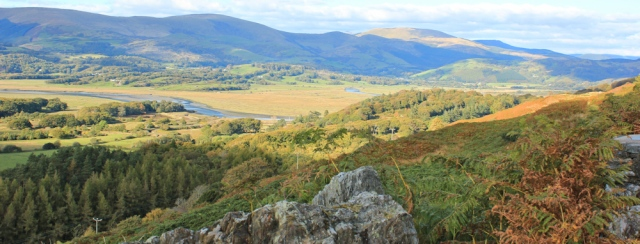 view from Foel Fawr, Ruth hiking in Wales