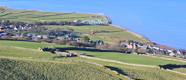 looking down on Llwyngwril, Ruth on the Wales Coast Path