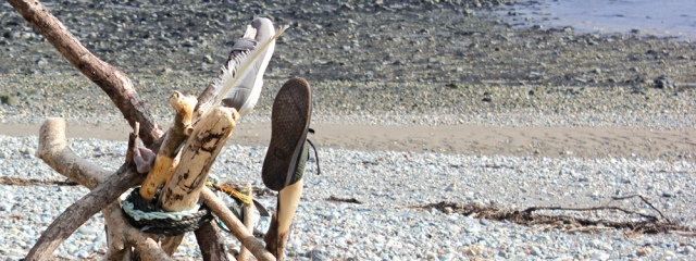 more odd shoes, Ruth on the beach near Criccieth