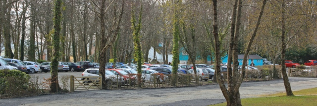 07 car park, Portmeirion, Ruth hiking in Wales