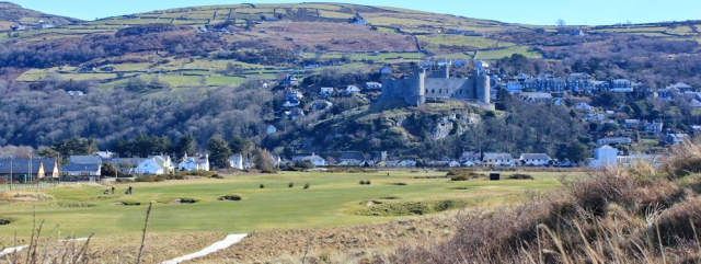 12 dunes and golf links, Harlech, Ruth walking the coast of Wales