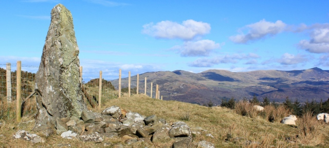 12 more standing stones, Ruth on the Wales Coast Path, above Fairbourne